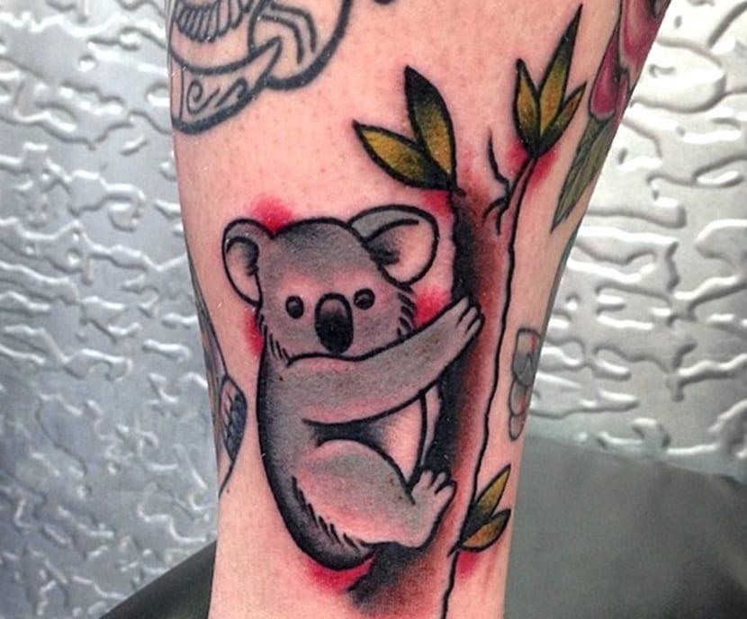 tatuaje dibujo de koala y bambu