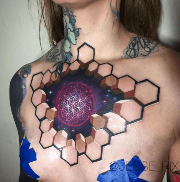 tatuaje geométrico de galaxias