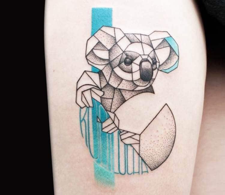 tatuaje geometrico de koala