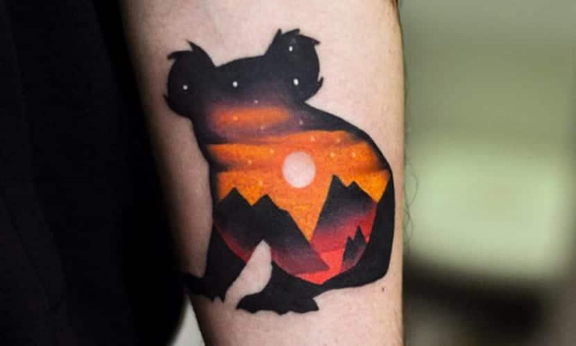 tatuaje original de koala para mujer