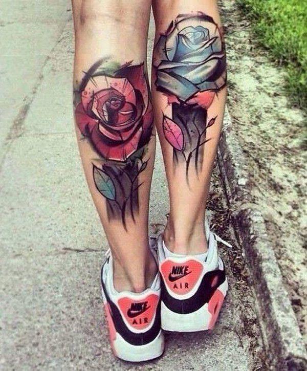 tatuajes de rosas en las pantorrillas