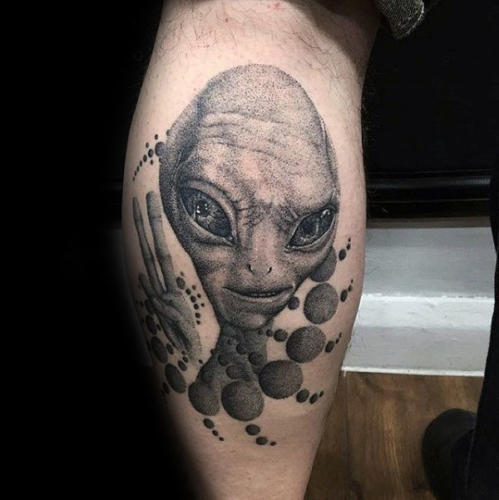 dotwork-geometric-alien-male-leg-calf-tattoo-ideas