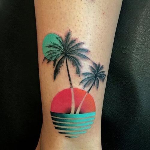 tattoo de palmera a color