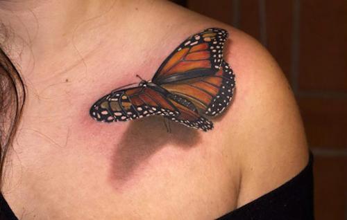 tatuaje de mariposa en 3D