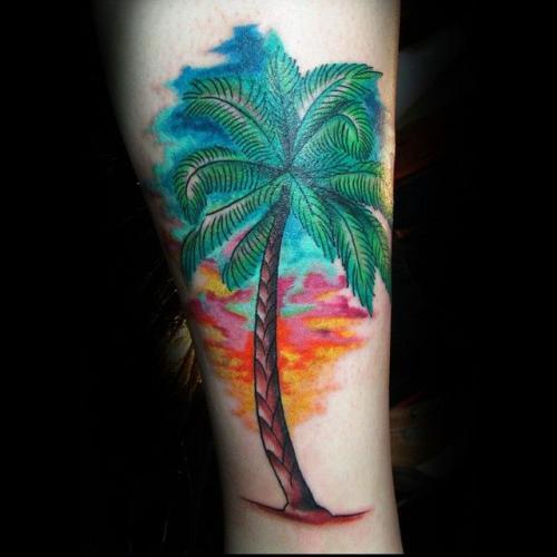 tatuaje de palmera acuarela