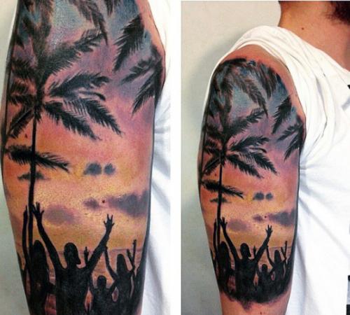 tatuaje de palmeras realista