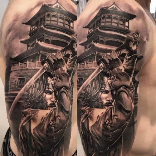 tatuaje samurai realista